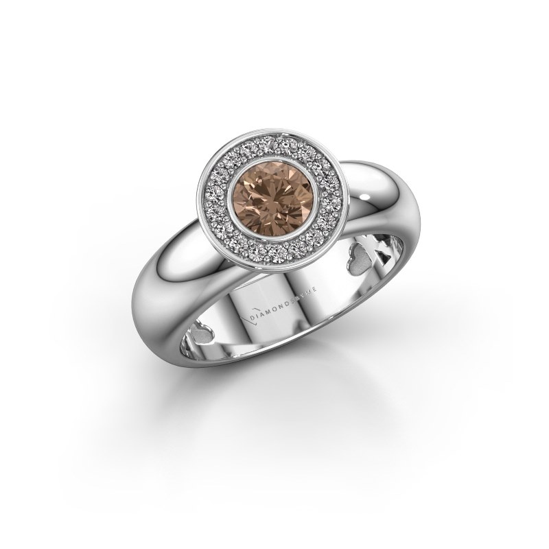 Stacking ring Anna 925 silver brown diamond 0.635 crt