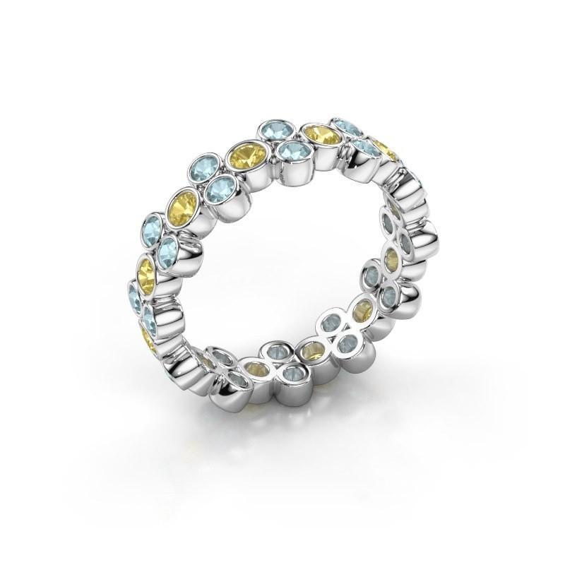 Ring Victoria 585 Weißgold Gelb Saphir 2.4 mm