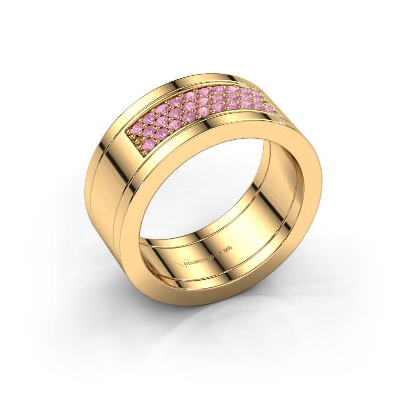 Ring Marita 3 585 goud roze saffier 1.3 mm