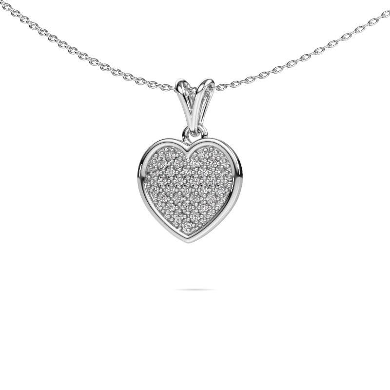 Halsketting Aline 585 witgoud diamant 0.15 crt