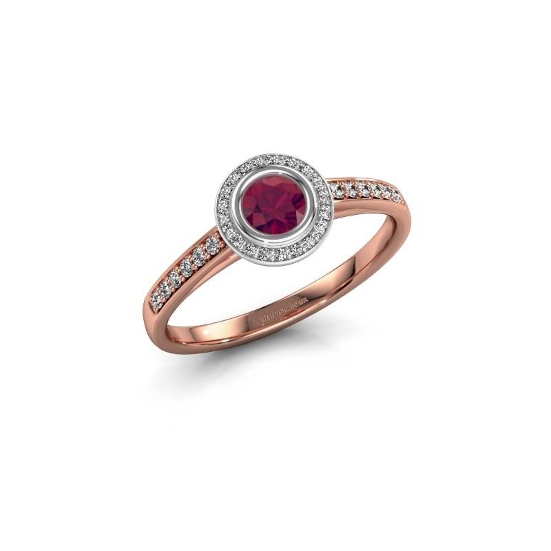 Verlovingsring Noud 2 RND 585 rosé goud rhodoliet 4 mm