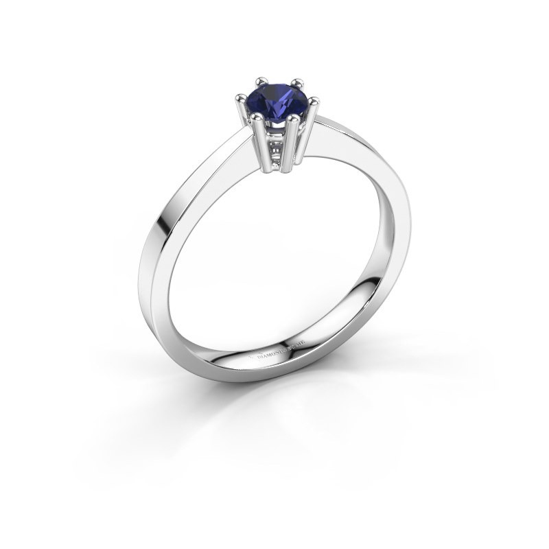 Engagement ring Noortje 585 white gold sapphire 4 mm