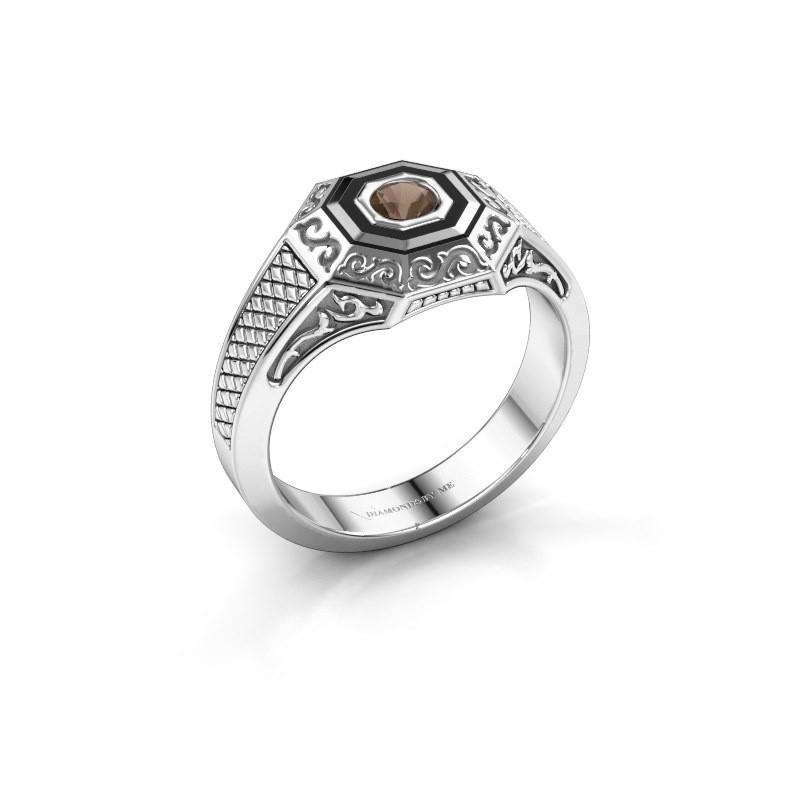 Men's ring Dion 375 white gold smokey quartz 4 mm