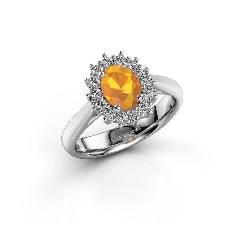 Verlobungsring Margien 1 585 Weißgold Citrin 7x5 mm
