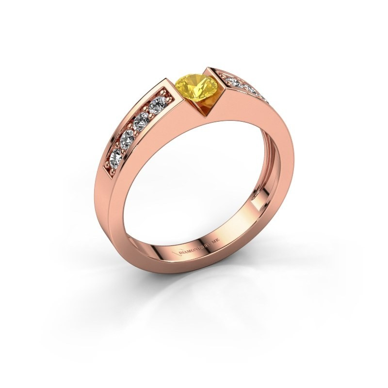 Verlovingsring Lizzy 2 375 rosé goud gele saffier 4.2 mm