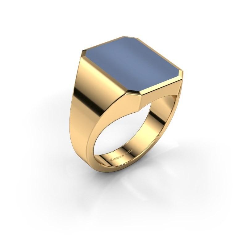Zegelring Lars 4 585 goud licht blauwe lagensteen 15x12 mm