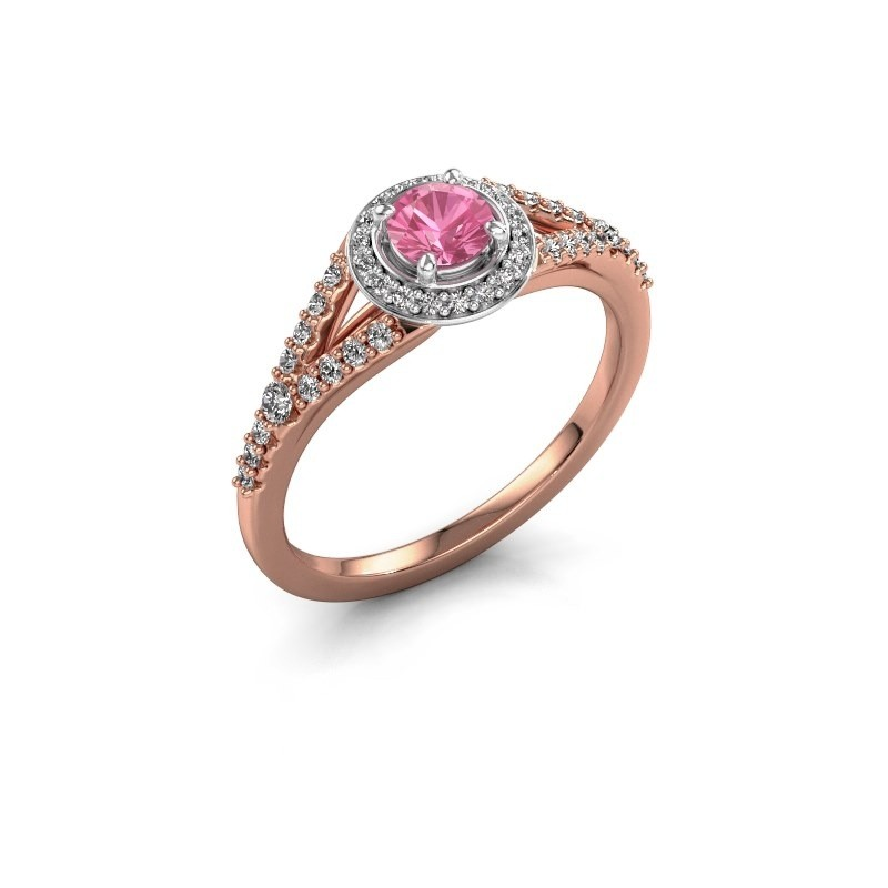 Verlovingsring Pamela RND 585 rosé goud roze saffier 4 mm