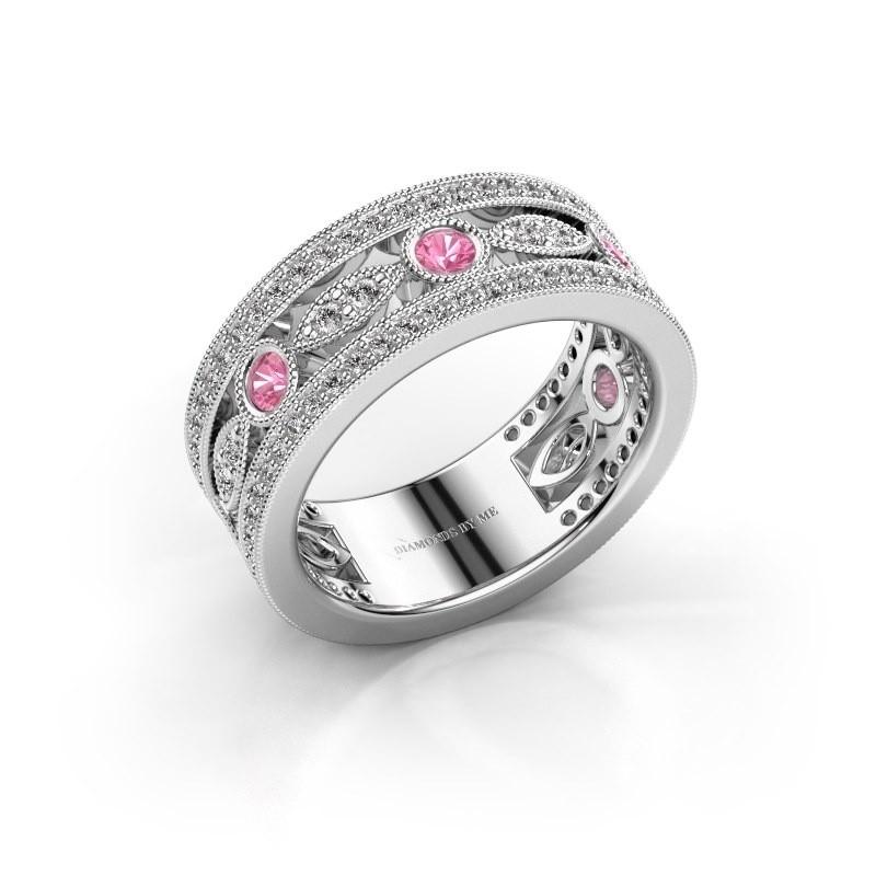 Ring Jessica 925 zilver roze saffier 2.5 mm