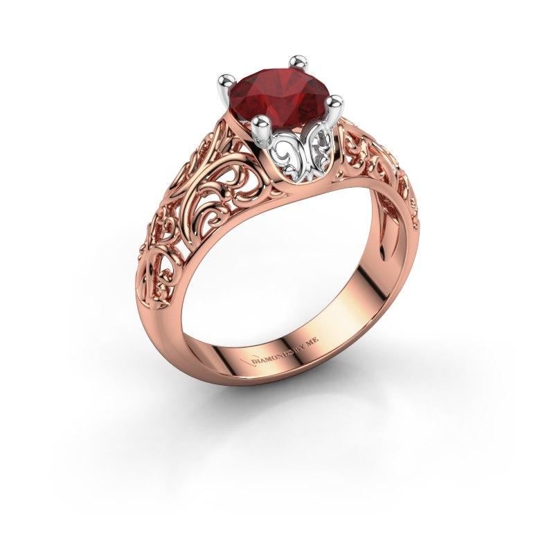 Ring Mirte 585 rosé goud robijn 6.5 mm
