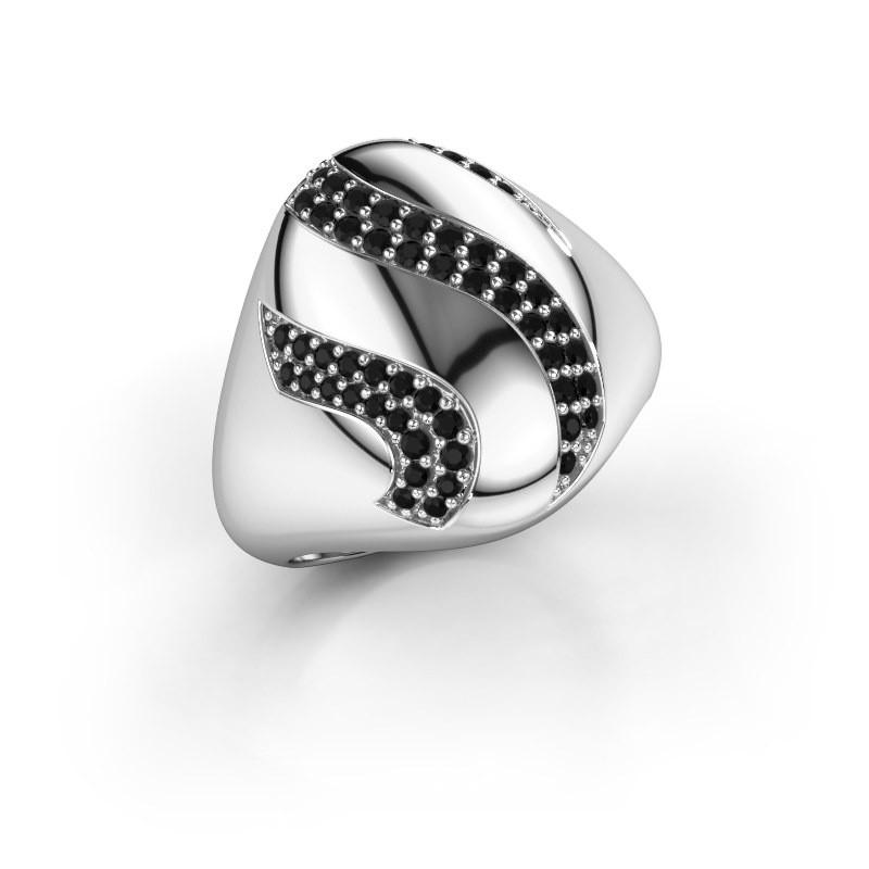 Ring Vilma 925 zilver zwarte diamant 0.399 crt