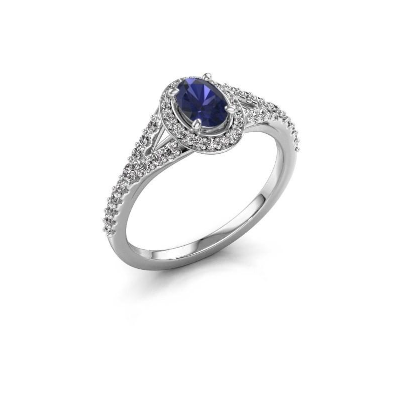 Belofte ring Pamela OVL 925 zilver saffier 7x5 mm