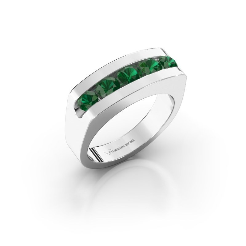 Men's ring Richard 950 platinum emerald 4 mm