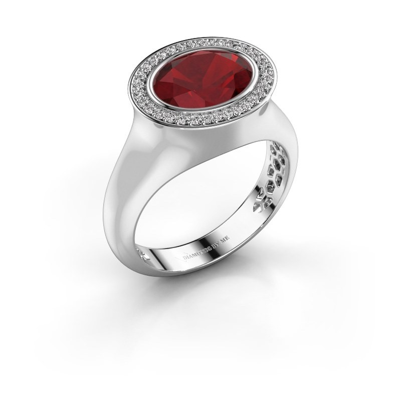 Ring Phebe 375 white gold ruby 10x8 mm