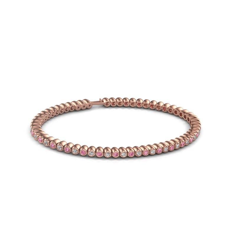 Tennisarmband Trix 375 rosé goud roze saffier 2 mm