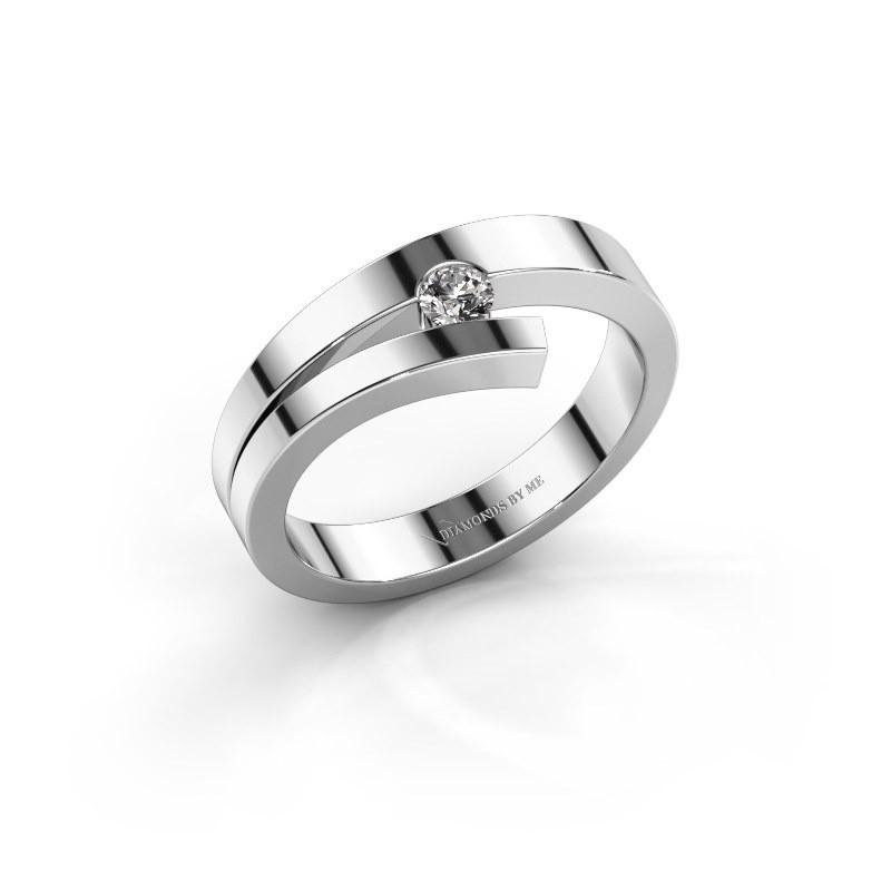 Ring Rosario 585 witgoud zirkonia 3 mm