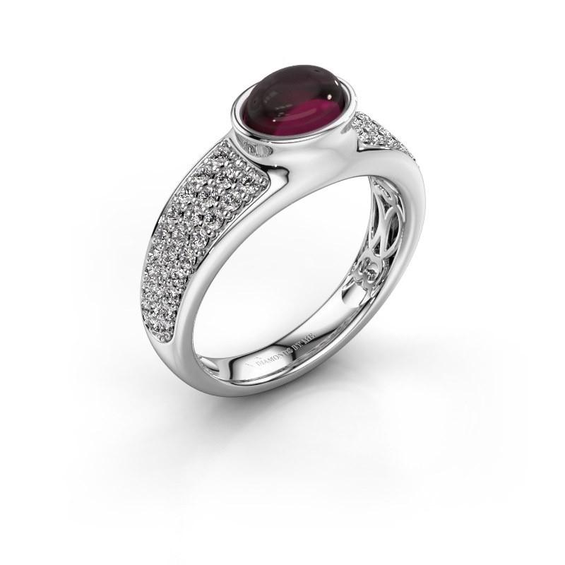 Ring Tatyana 375 witgoud rhodoliet 7x5 mm