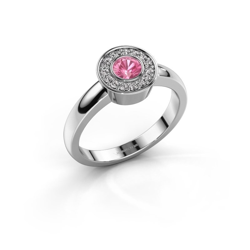 Ring Adriana 1 925 zilver roze saffier 4 mm