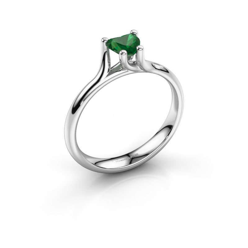 Engagement ring Dewi Heart 925 silver emerald 5 mm