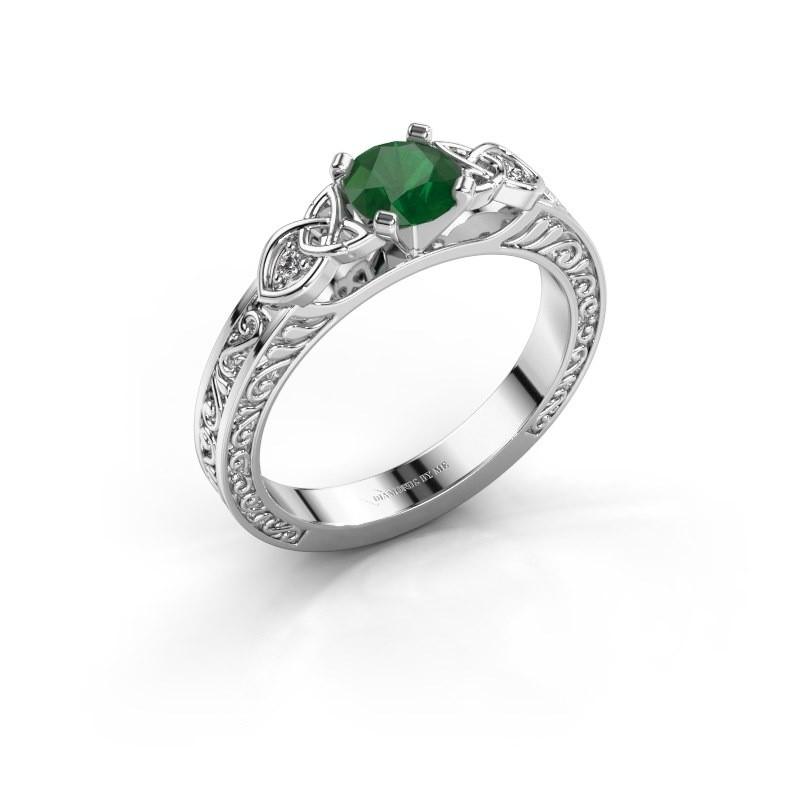 Verlovingsring Gillian 585 witgoud smaragd 5 mm