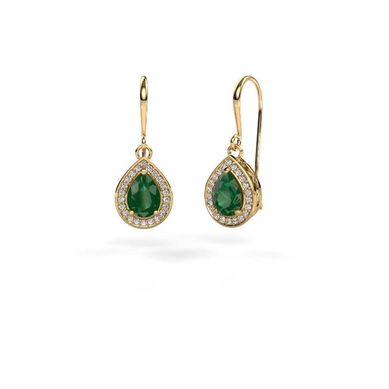 Drop earrings Beverlee 1 375 gold emerald 7x5 mm