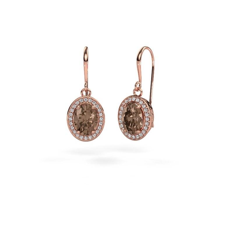 Oorhangers Latesha 375 rosé goud bruine diamant 2.54 crt