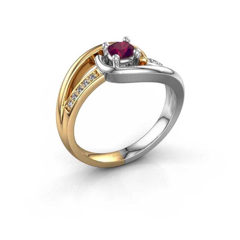 Ring Aylin 585 goud rhodoliet 4 mm