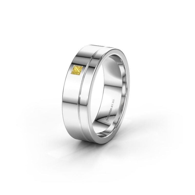 Trouwring WH0301L16APSQ 925 zilver gele saffier ±6x1.7 mm