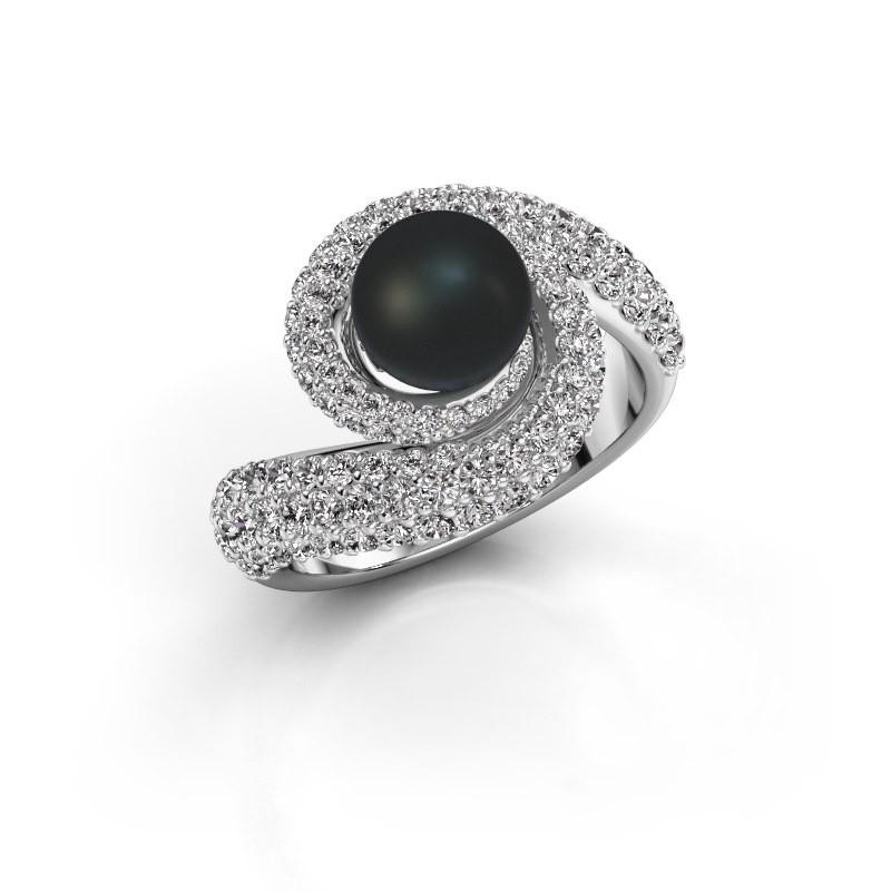 Ring Klasina 950 platina zwarte parel 7 mm