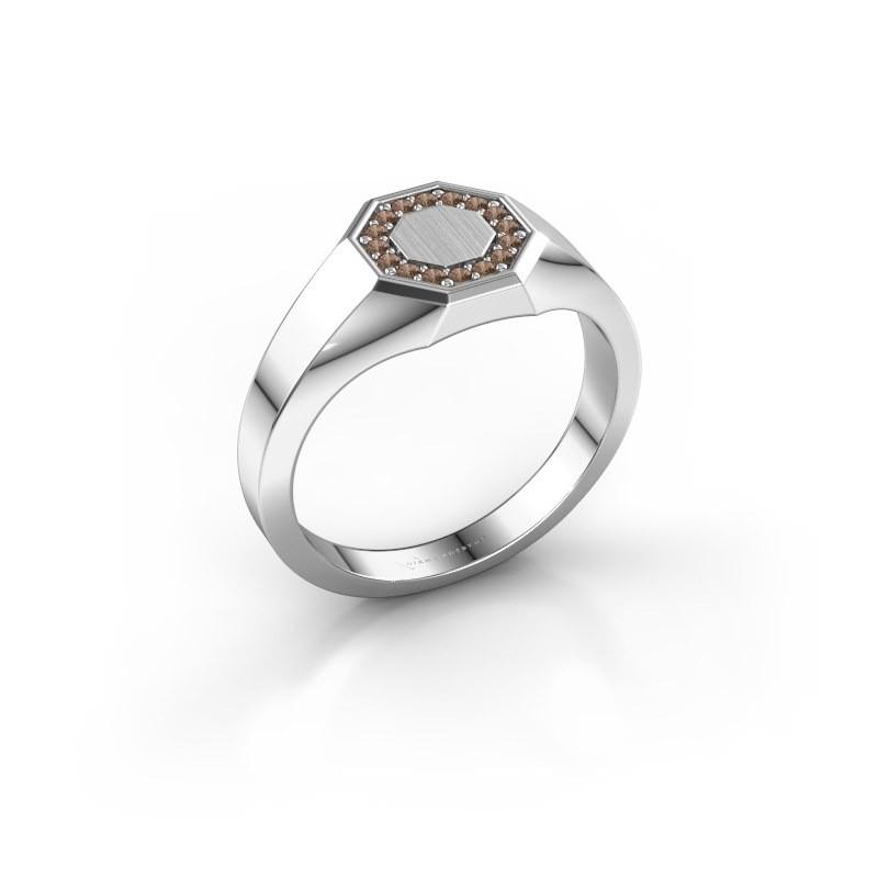 Pinkring Floris Octa 1 375 witgoud bruine diamant 0.12 crt