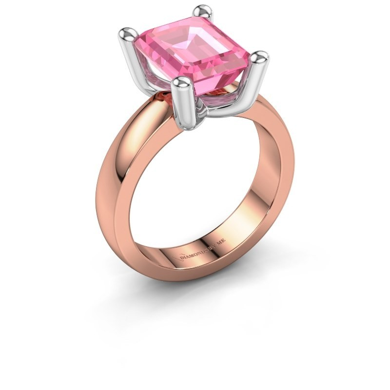 Bague Clelia EME 585 or rose saphir rose 10x8 mm
