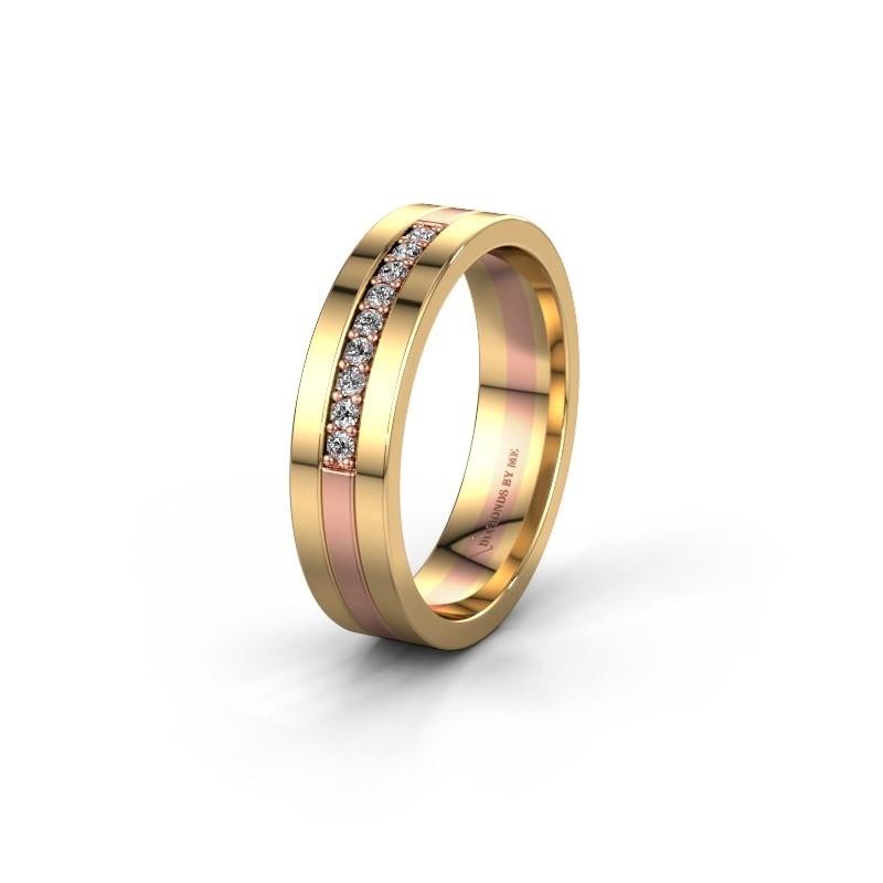 Trouwring WH0413L15AP 585 rosé goud lab-grown diamant ±5x1.7 mm