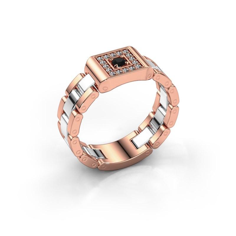 Herrenring Giel 585 Roségold Schwarz Diamant 0.216 crt
