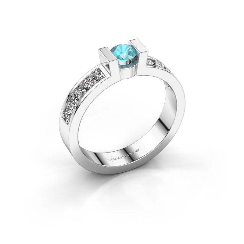 Verlovingsring Lieve 2 925 zilver blauw topaas 4 mm