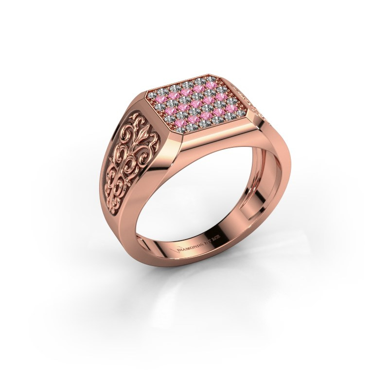 Herrenring Amir 585 Roségold Pink Saphir 1.4 mm