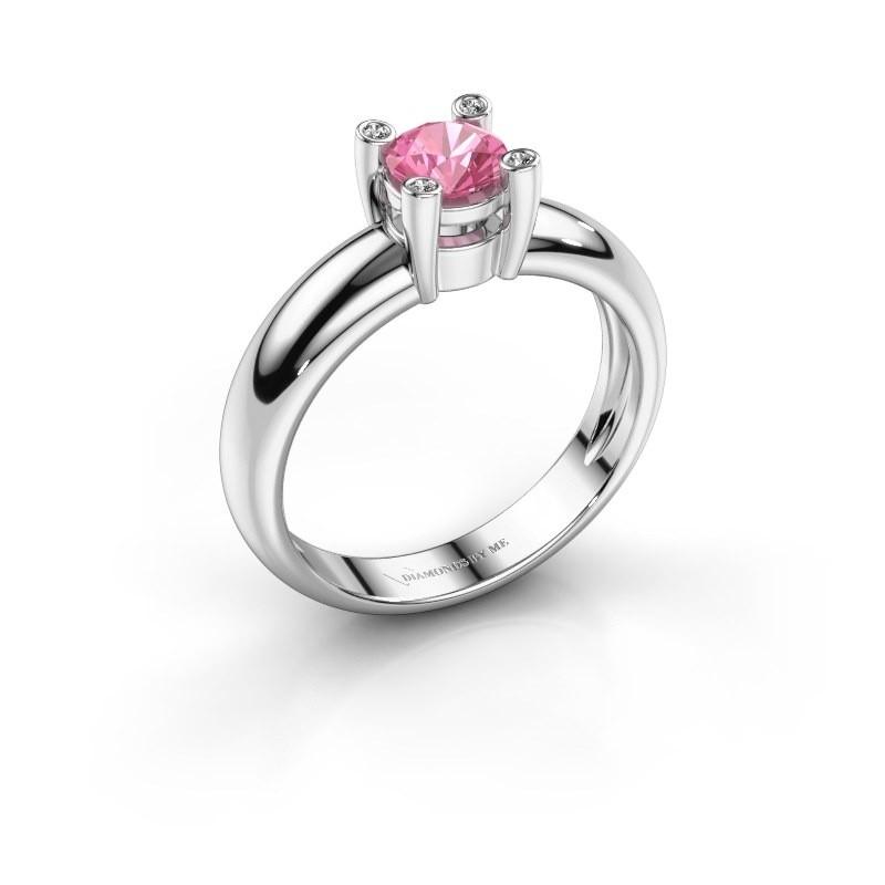 Ring Fleur 585 witgoud roze saffier 4.7 mm