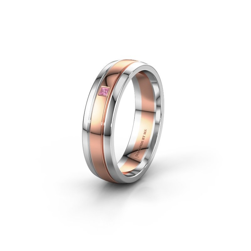 Wedding ring WH0422L25X 585 rose gold pink sapphire ±5x1.5 mm