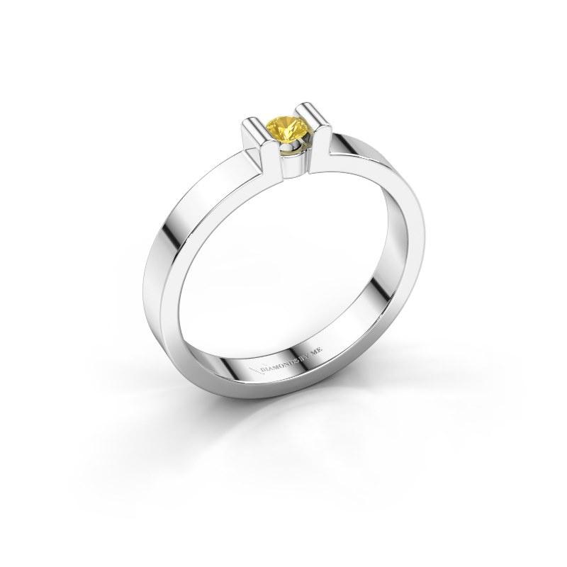 Verlovingsring Sofie 1 925 zilver gele saffier 3 mm