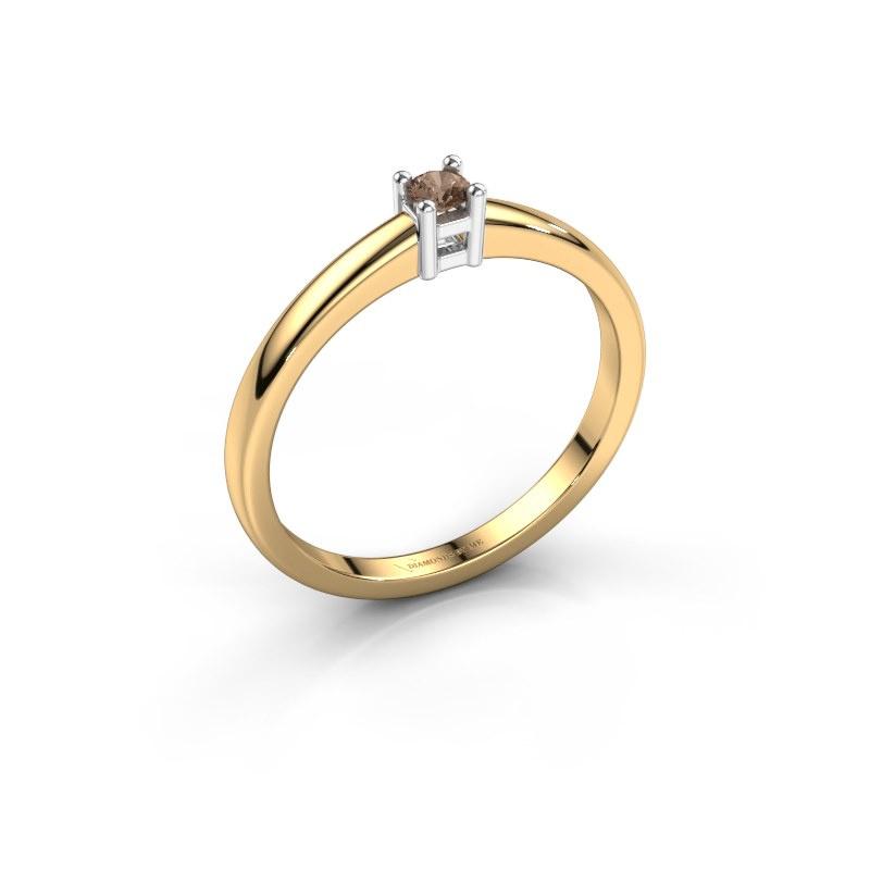 Promise ring Eline 1 585 goud bruine diamant 0.10 crt