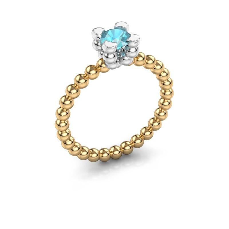Ring Aurore 585 goud blauw topaas 5 mm