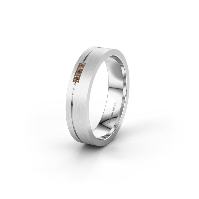Trouwring WH0156L14X 375 witgoud bruine diamant ±4,5x1.4 mm