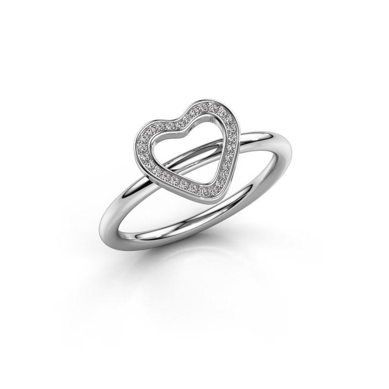 Ring Shape heart large 375 witgoud zirkonia 0.8 mm