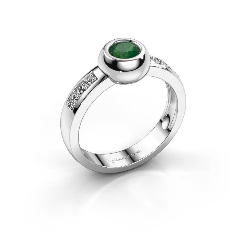 Ring Charlotte Round 585 witgoud smaragd 4.7 mm