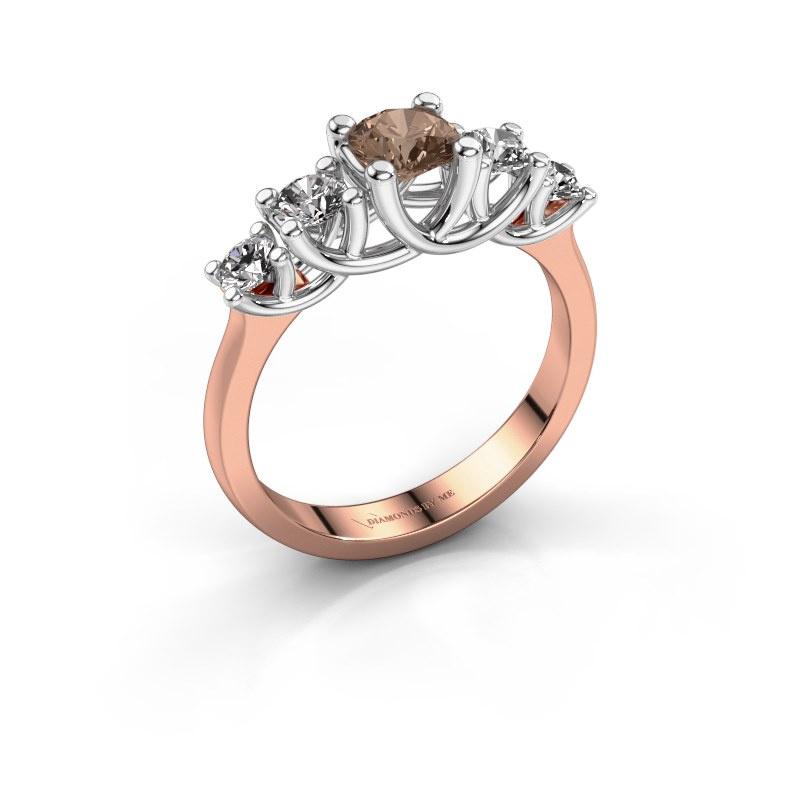 Bague de fiançailles Jet 585 or rose diamant brun 1.00 crt