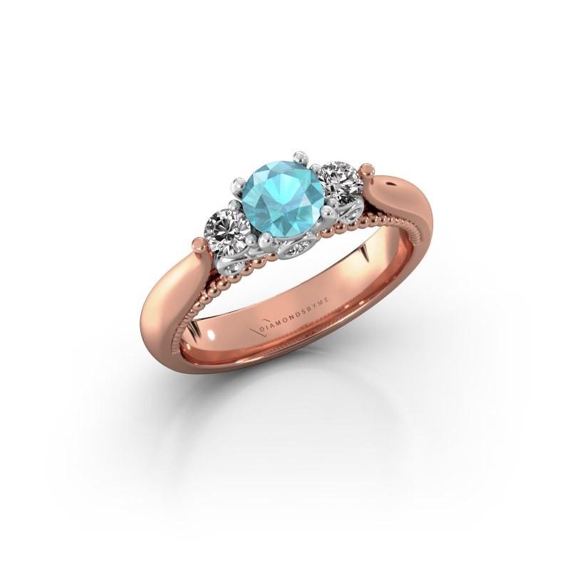 Verlovingsring Tiffani 585 rosé goud blauw topaas 5 mm