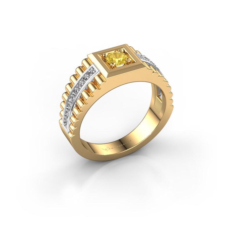 Heren ring Maikel 585 goud gele saffier 4.2 mm