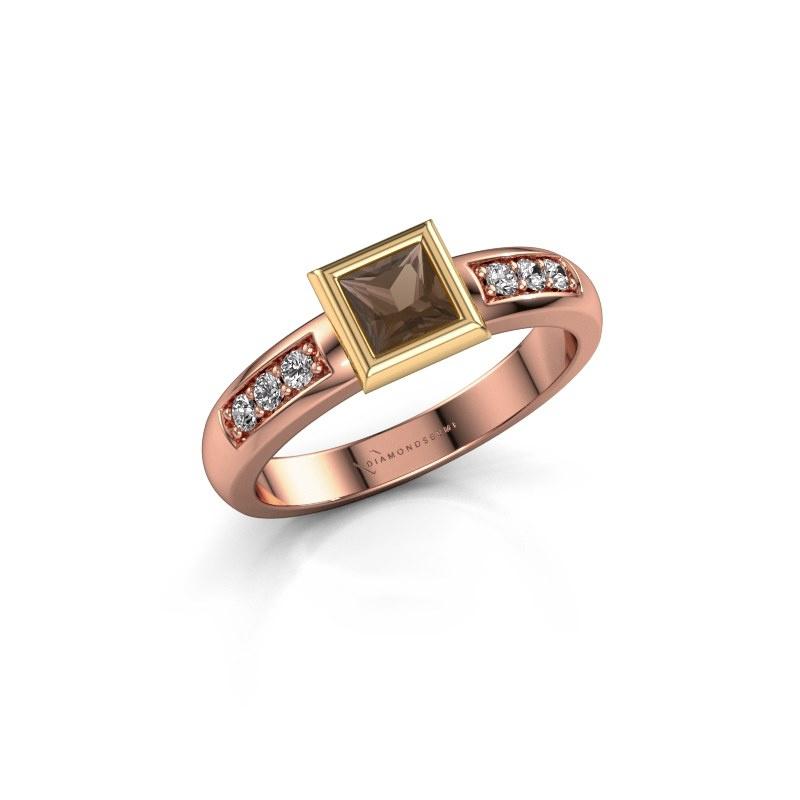 Stacking ring Lieke Square 585 rose gold smokey quartz 4 mm