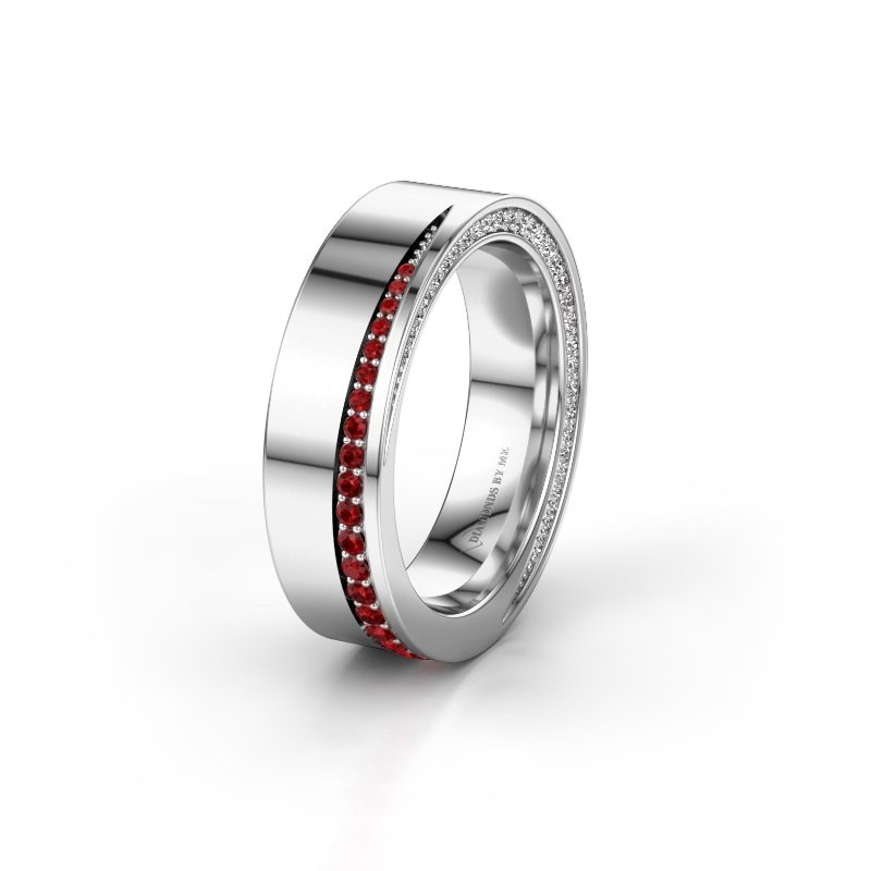Wedding ring WH1002L15DP 585 white gold ruby ±6x2.3 mm