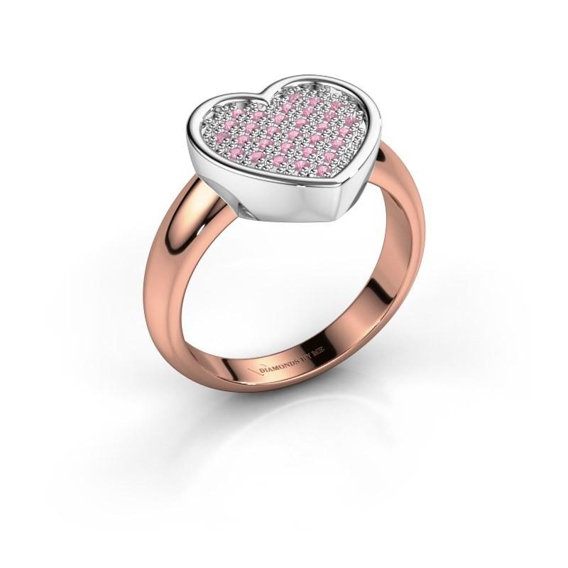 Ring Veerle 585 rosé goud roze saffier 1 mm