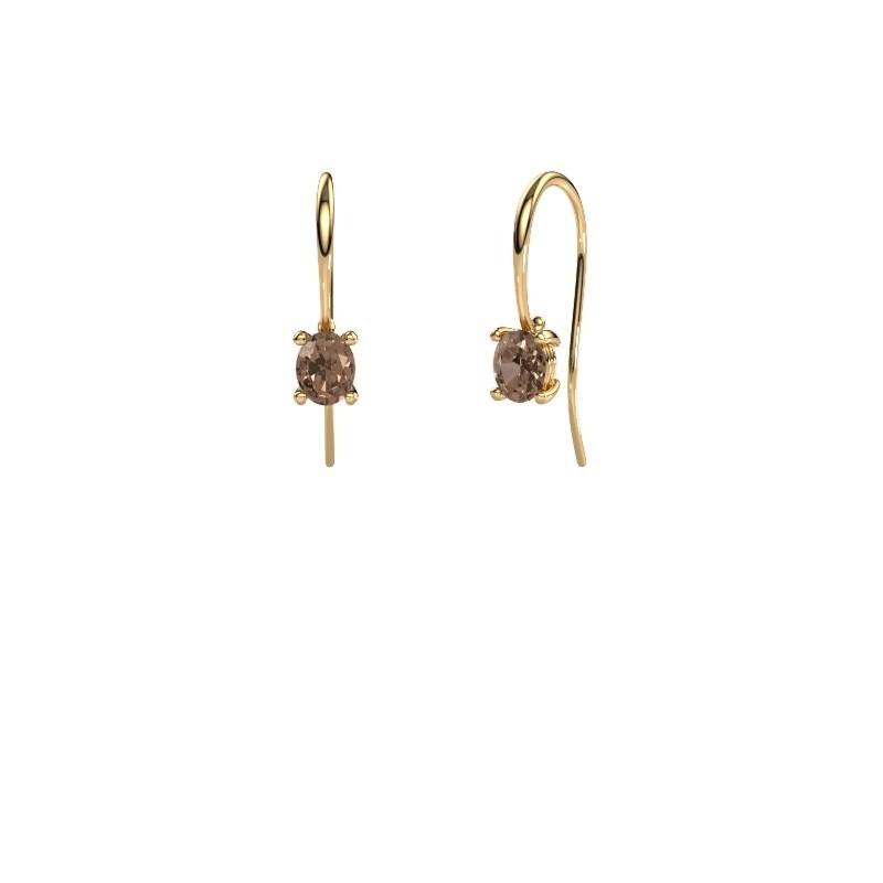 Oorhangers Cleo 585 goud bruine diamant 1.00 crt