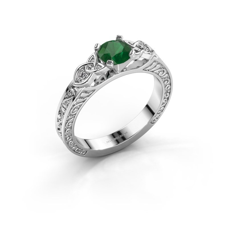 Engagement ring Gillian 585 white gold emerald 5 mm